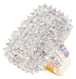 Gem of Distinction by Pamela McCoy 14K Yellow Gold 1.95ctw Round & Baguette a Diamond Ring Sz6