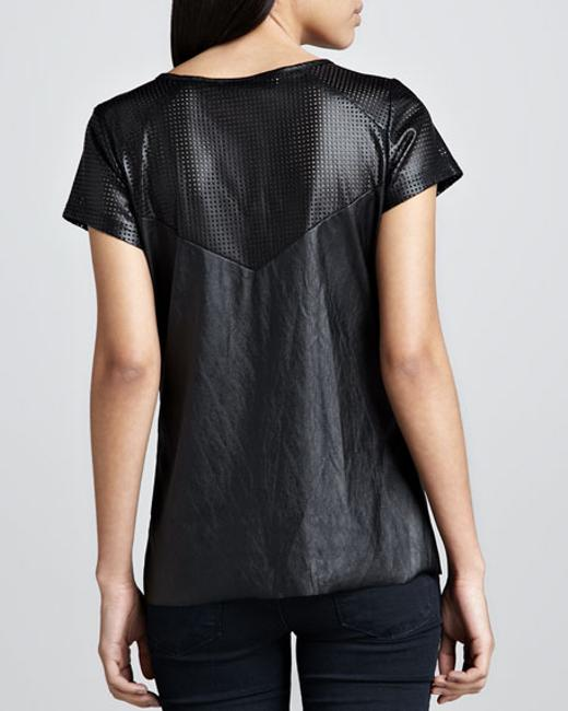 Generation Love Faux Leather Cut-out Top Black