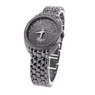Geneva Black Finish Watch Floating Stones Dial Simulated Diamond Bezel Ladies Unique