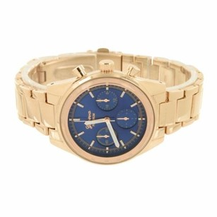 Geneva Blue Dial Watch Rose Gold Tone Unique Party Wear Analog Platinum Stainless Steel