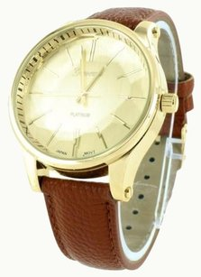 Geneva Brown Leather Band Watch Men Gold Tone Round Face Analog Mm Elegant Joe Rodeo