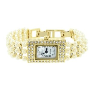 Geneva Mop Rectangle Dial Watch Simulated Diamonds Pearl Bead Bracelet Band Gold Tone