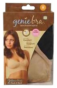 Genie Bra Seamless Bras- 2 Pack (Nude and Black) XS/S