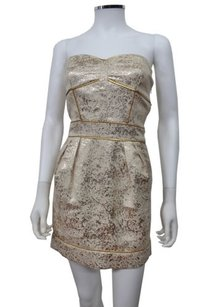 Gentle Fawn Twinkle Brocade Metallic Piping Strapless Dress