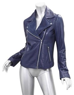 GERARD DAREL Blue Leather Jacket