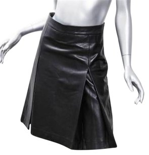 GERARD DAREL Leather Box Pleat Short Skirt Black