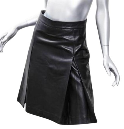 9e1e4d97fe46b GERARD DAREL Gerard Darel Black Leather Above-knee Box Pleat Short A-line  Skirt