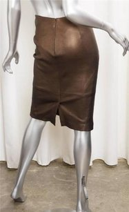 GERARD DAREL Metallic Leather Pencil 36s Skirt Brown