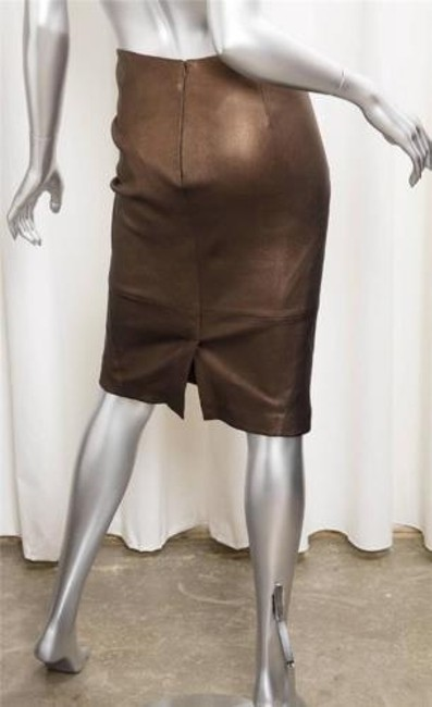 d6504f5a71475 cheap GERARD DAREL Gerard Darel Metallic Brown Bronze Leather High-waisted Pencil  Skirt 36s