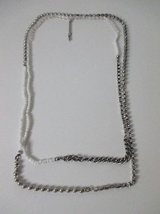 Gerard Yosca Gerard Yosca Antique Silver Link White Bead Crystal Long Layer Necklace 159