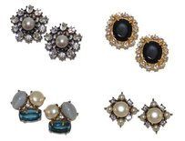 Gerard Yosca Gerard Yosca Hard Candy Crystal Black Clip On Earrings