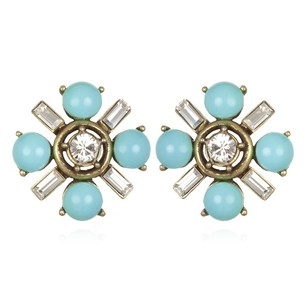 Gerard Yosca Gerard Yosca Turquoise Flower Button Earrings