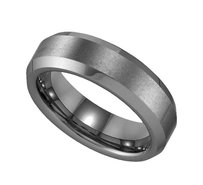 Geraud Tungsten Wedding Band Mens Brushed Finish Beveled Edge 6mm Sz 7 To 14