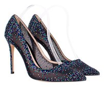 Gianvito Rossi Black Crystal Rhinestone Mesh Point Toe Blue Pumps