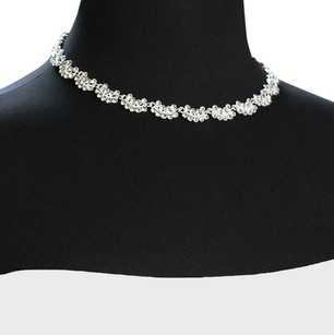Giavan D4665N-Silver Plated- (n-23) Scalloped crystal necklace