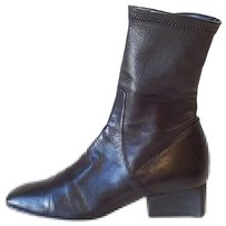 Giorgio Armani Black Leather Stretch Ankle Blacks Boots