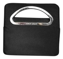 Giorgio Armani Silk Satin Square Evening Handbag Black Clutch