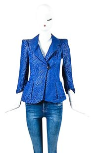 Giorgio Armani Giorgio Armani Blue Textured Three Quarter Sleeve Jacket