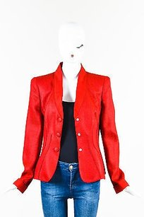 Giorgio Armani Giorgio Armani Red Textured Shawl Collar Snap Tailored Ls Blazer Jacket