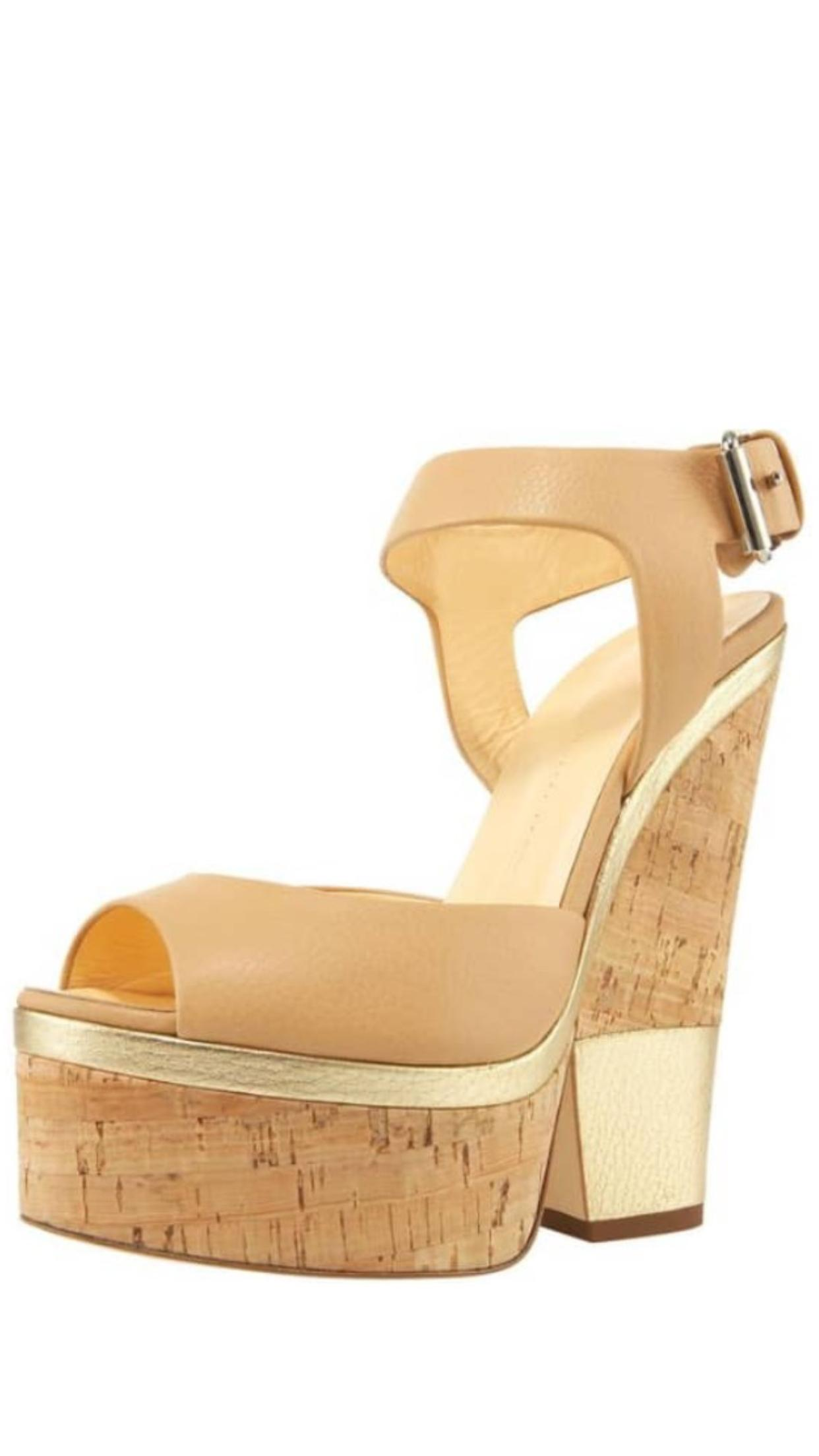 Giuseppe Zanotti Nude Natural Leather Cork Wedge Sandals Platforms Size EU 40 (Approx. US 10) Regular (M, B)