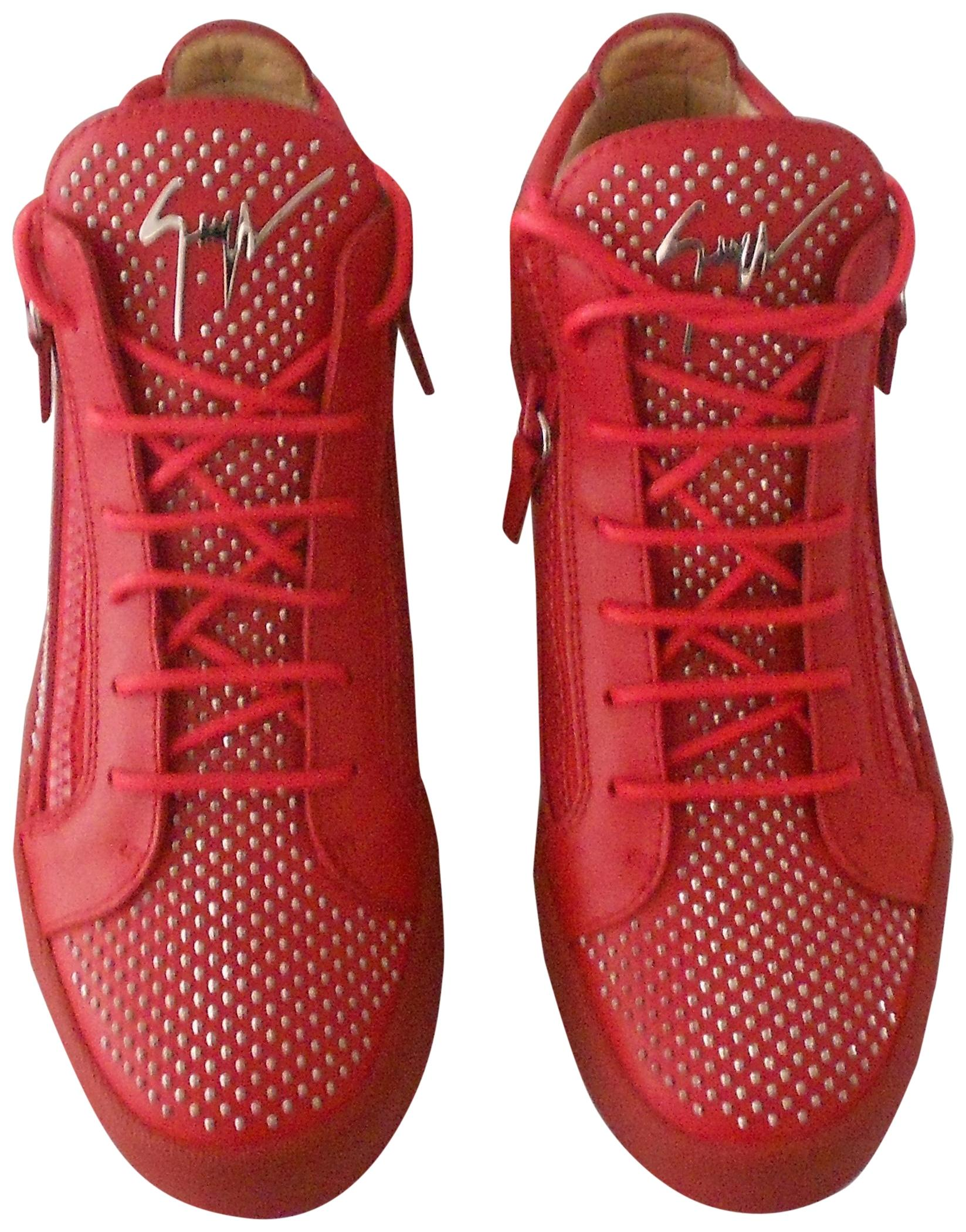 "Giuseppe Zanotti Red ""Rw6086 Connor"" Studded Women's Mid Top Leather Sneakers Sneakers Size EU 39.5 (Approx. US 9.5) Regular (M, B)"