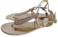 Giuseppe Zanotti Yellow Flat With Crystals Gold and pink Sandals