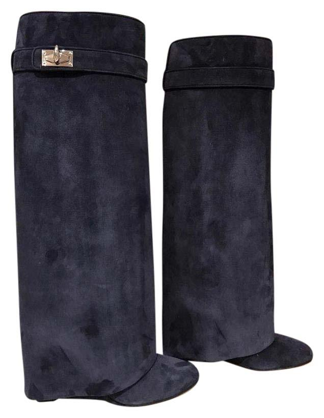 Givenchy Blue Navy Marine Suede Shark Tooth Size Lock Wedge 36 Boots/Booties Size Tooth US 6 Regular (M, B) c25b23