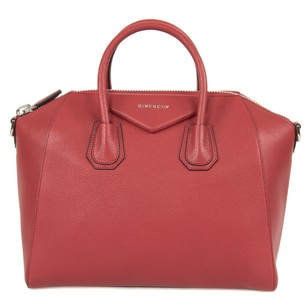Givenchy Classic Leather Textured Pebbled Tote in Red