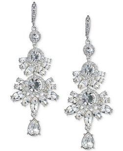Givenchy Givenchy Silver-Tone Clear Crystal Chandelier Earrings