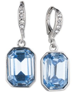 Givenchy Givenchy Silver-Tone Large Blue Crystal Drop Earrings