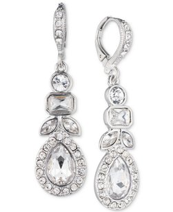Givenchy Givenchy Silver-Tone Multi-Crystal and Pave Linear Drop Earrings