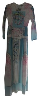 Pastel Colors Pink Turquoise Maxi Dress by