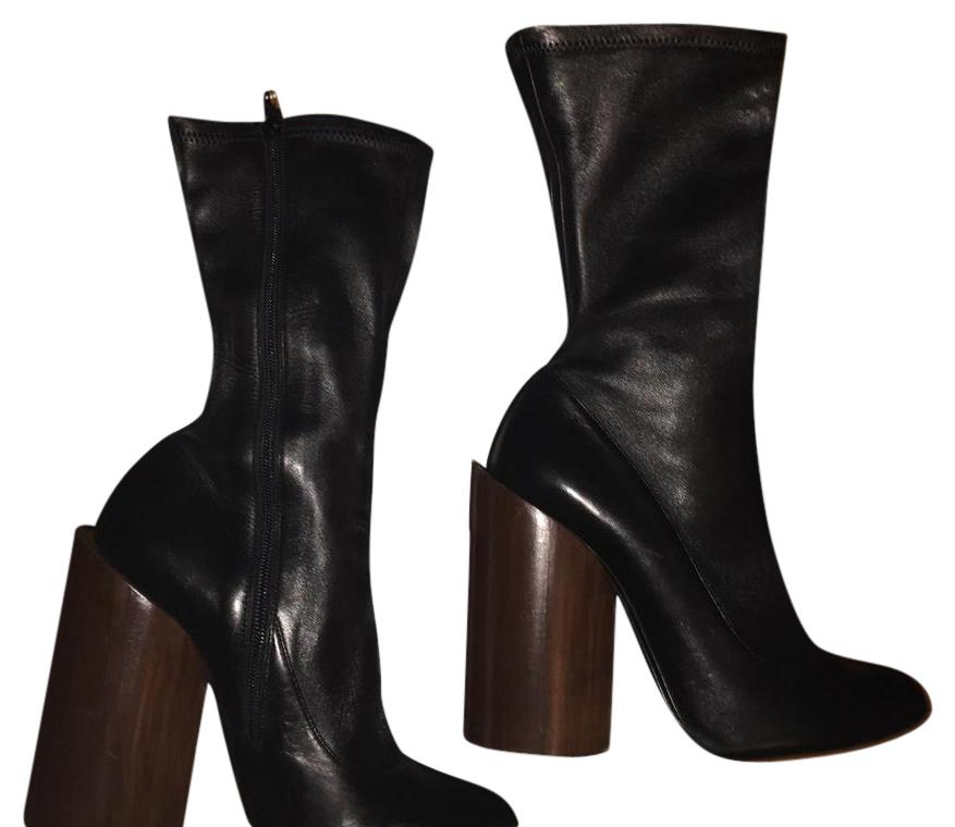 Givenchy Lambskin Leather Wooden- Heel Boots/Booties Size US 9.5 Narrow (Aa, N)