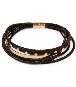 Givenchy new black braided leather multi row unisex choker necklace with box