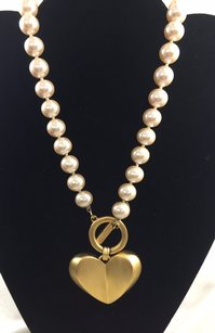 Givenchy Vintage Givenchy Knotted Faux Pearl Necklace Wgold Tone Heart Pendent