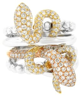 GLK 18K TRI-TONED GOLD 1.718CT DIAMOND SNAKE RING