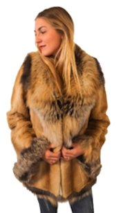 Golden Plucked MInk Fur Fox Fox Shearling Fur Coat