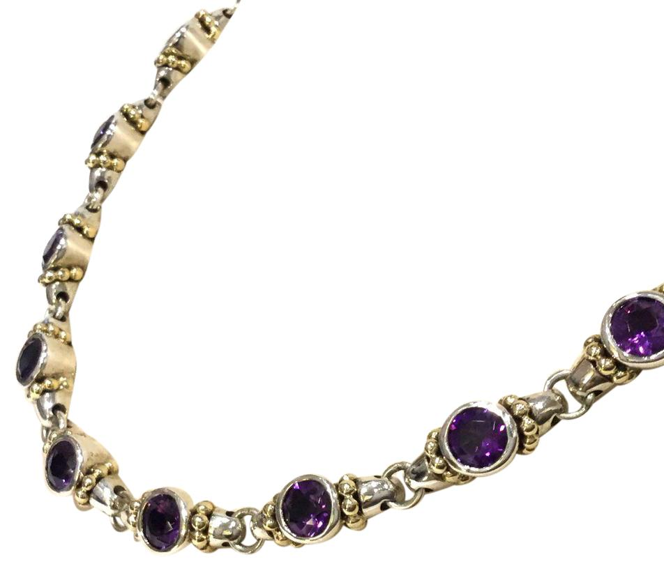 "Gorgeous Amethyst Necklace Sterling Silver 14kt Gold 16"" Necklace February"