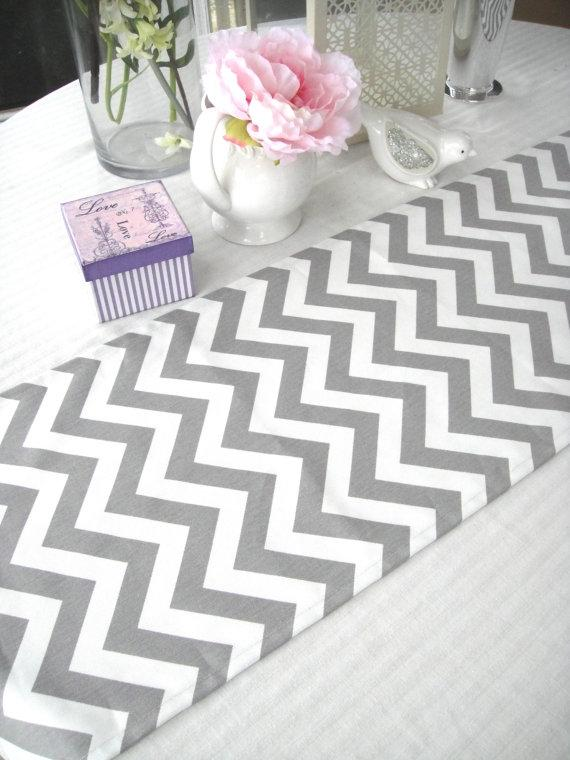 Gray And White Chevron Linen Table Runners   Set Of 10 Tablecloth   Tradesy