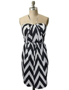 Greylin Chevron Printed Halter Pleated Cocktail Dress