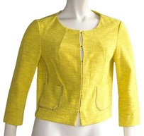 Gryphon Lemon Cotton Tweed Hook Closure Blazer Hs1990 Yellow Jacket