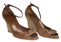 Gucci Suede Open Toe Ankle Strap Horsebit Wedge Sandals Brown Platforms
