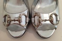 Gucci Leather Open Silver Platforms