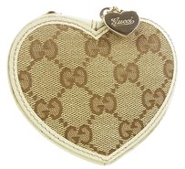 Gucci Auth GUCCI GG Pattern Heart Design Canvas Coin Case Purse Wallet F/S 11502eRQ