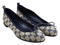 Gucci Navy Beige Canvas Blue Flats