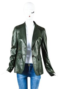 Gucci Olive Leather Green Jacket