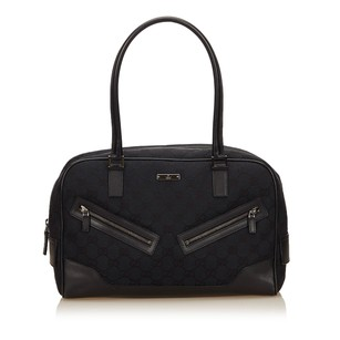Gucci Black Fabric Jacquard Shoulder Bag