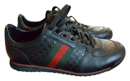 Gucci 233334 Black W Green And Red Stripe Athletic Shoes ...