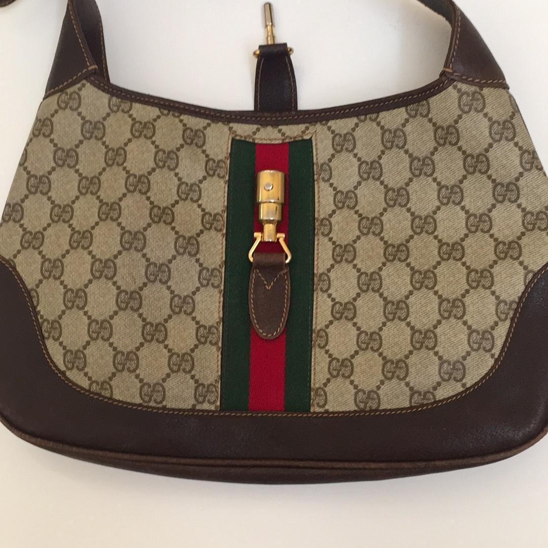 Gucci Brown Amp Beige Leather Treated Vinyl W Signature Red