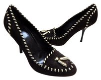 Gucci B Suede Leather Gold Whipstitch Italy Brown Pumps